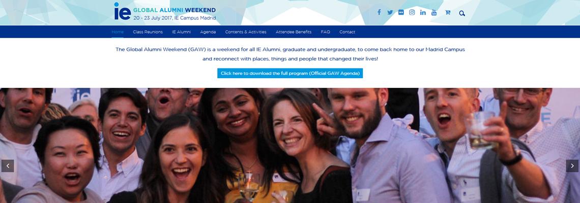 Alumni Weekend IE diseño wordprees